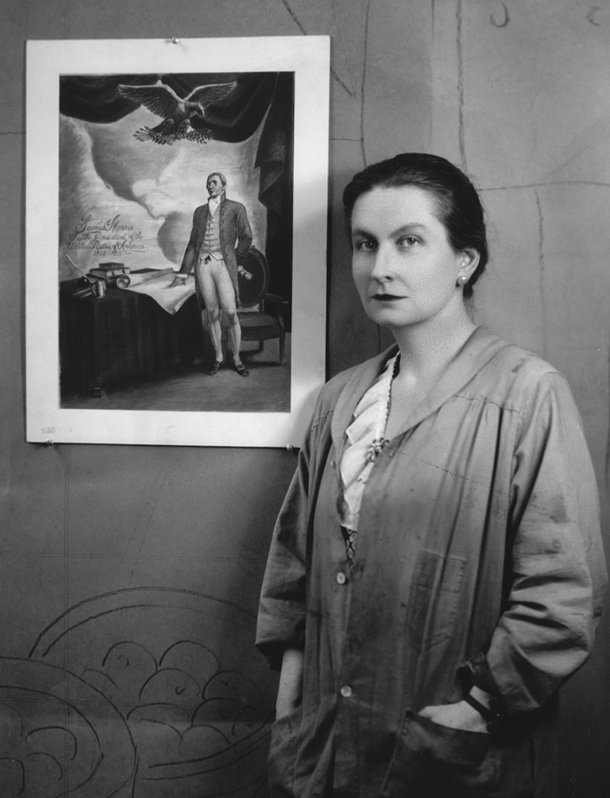 Meière with photograph of her winning submission to the Section of Fine Arts/Maritime Commission Competition of 1940
