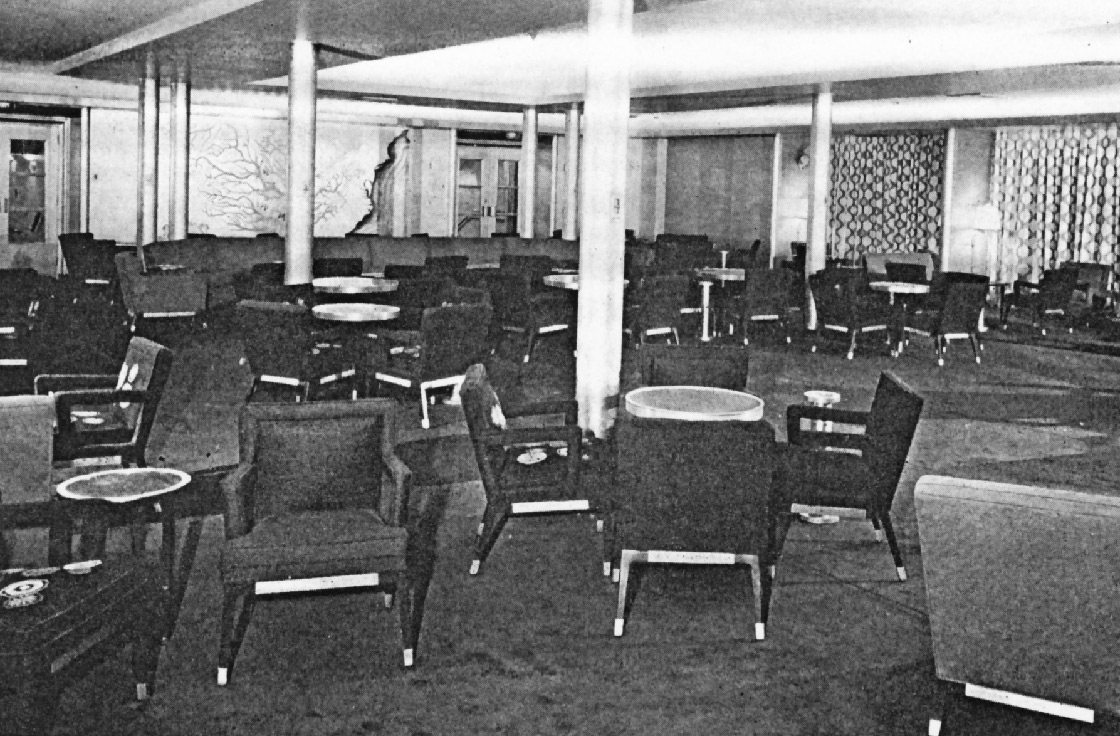 Cabin class lounge with Meière's Mississippi, Father of Waters