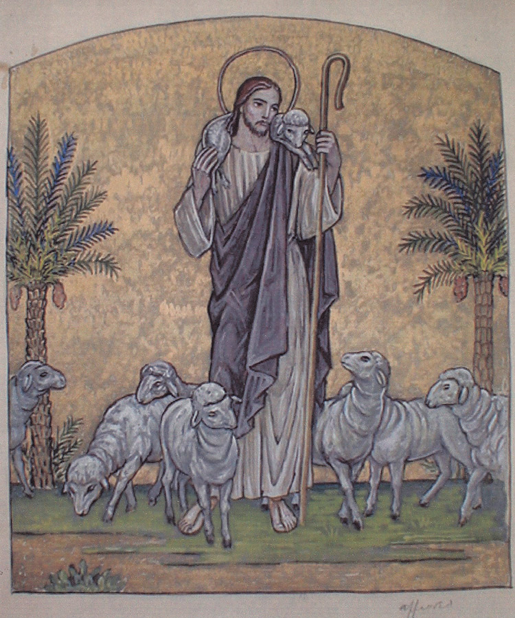 Color study for Christ as the Good Shepherd