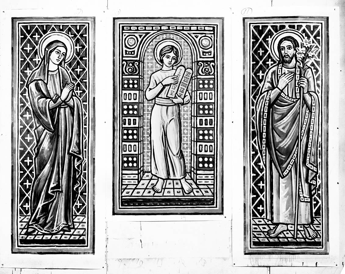 Black and white sketches for Mary, the Young Christ, and Joseph