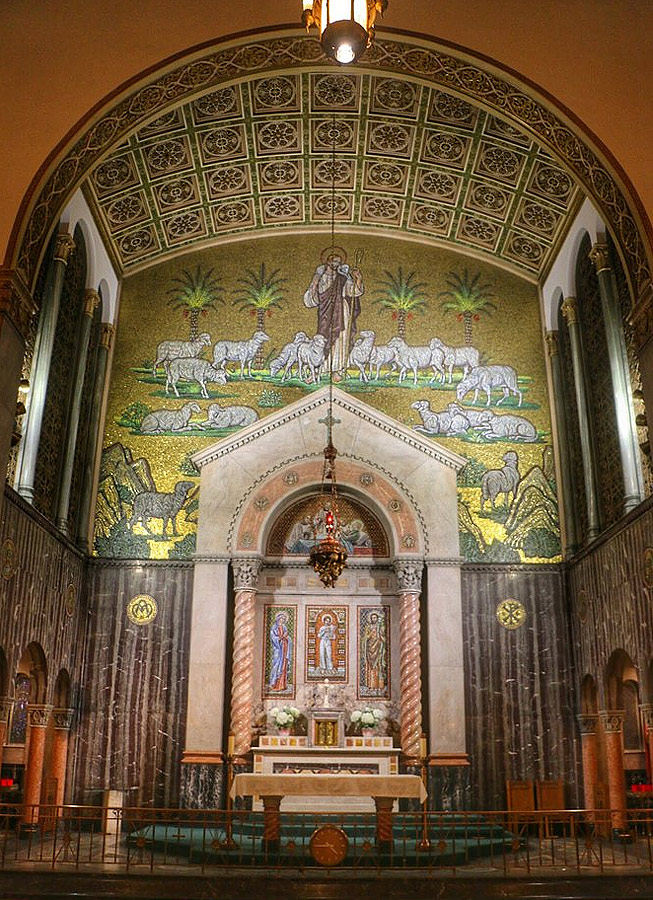 Christ as the Good Shepherd at end of barrel vault, St. Aloysius