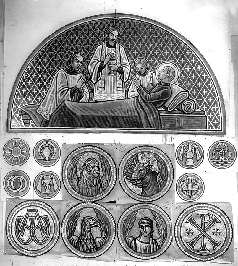 Black and white sketches for the Death of St. Aloysius, symbols of the Seven Sacraments, Four Evangelists, Alpha and Omega and Chi Rho