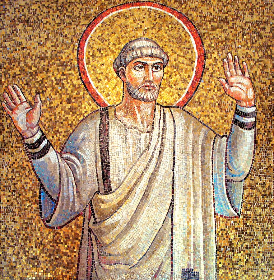 Sample of St. Peter from the Transfiguration in Byzantine-style glass mosaic showing a variety of gold hues