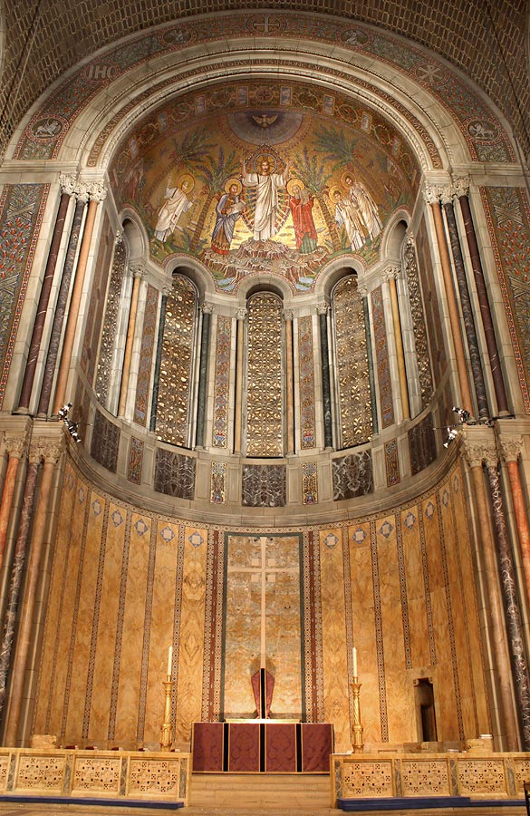 The Transfiguration in the half-dome of the apse, and stringcourse separating upper and lower apse with panels of birds and animals