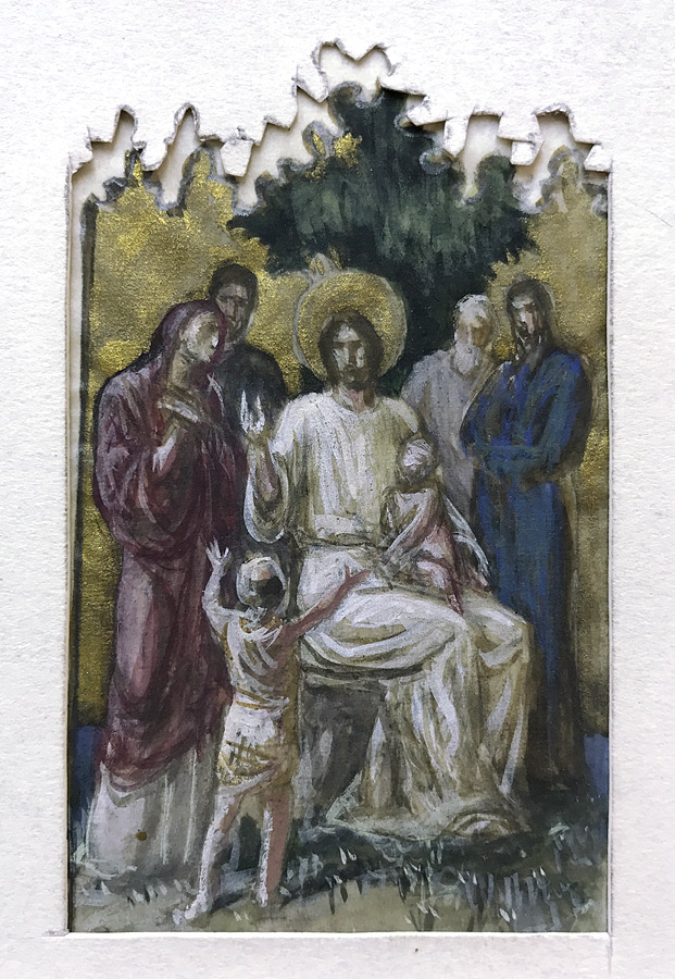 Sketch for Christ and the Children in gouache on tracing paper