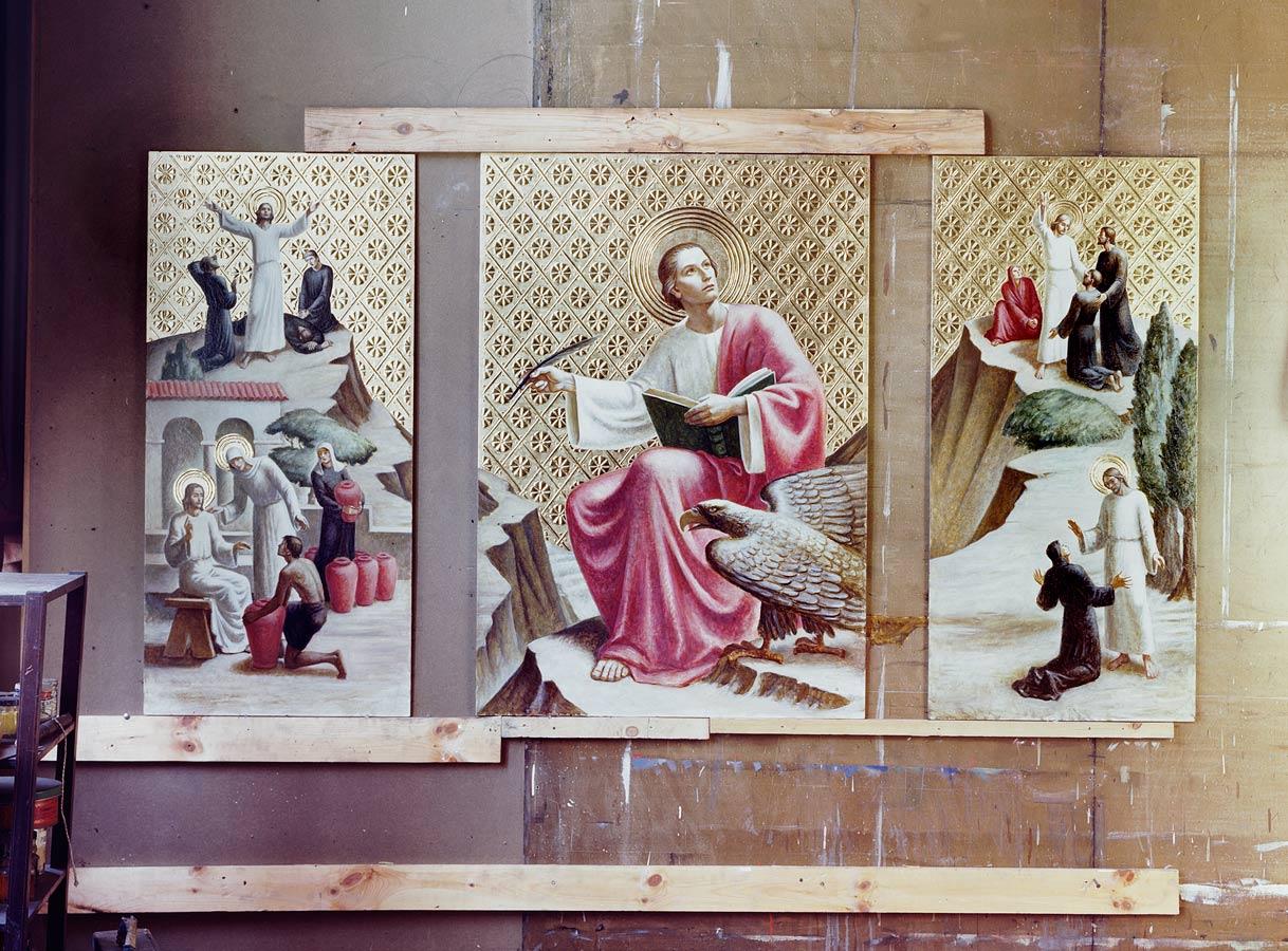 Panels for St. John the Evangelist altarpiece in Meière's studio