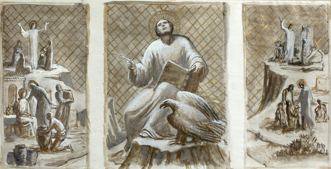 Early study for St. John the Evangelist altarpiece with St. John in a different pose from final version