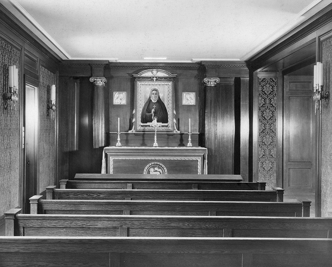 Side chapel with portrait of Saint Madeleine Sophie Barat at 133rd and Convent Avenue, New York