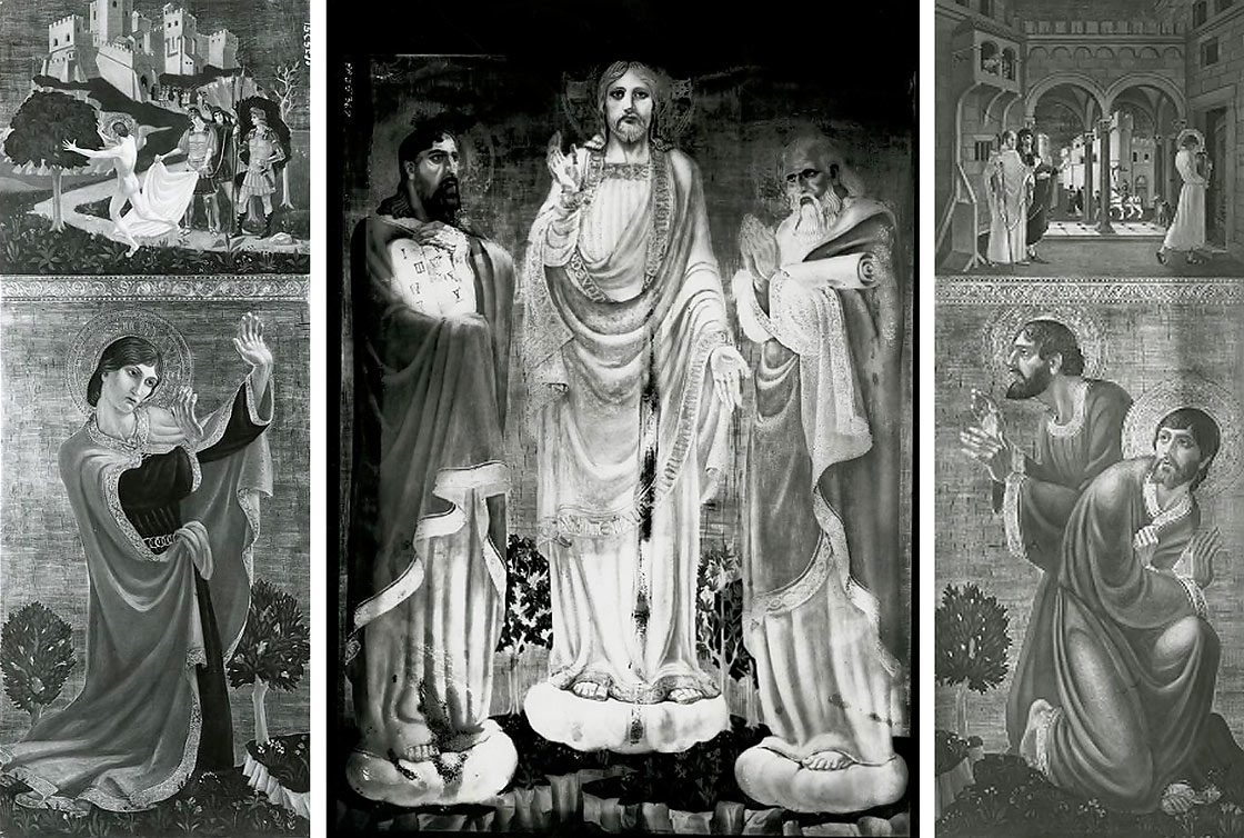 Three black-and-white photographs of the Transfiguration by Peter A. Juley & Son showing original details. Archives and Special Collections, Smithsonian American Art Museum