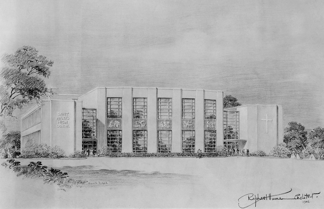 Photograph of sketch by Greville Rickard of St. Mary's High School, presented to Meiere by Raphael Hume, 1946