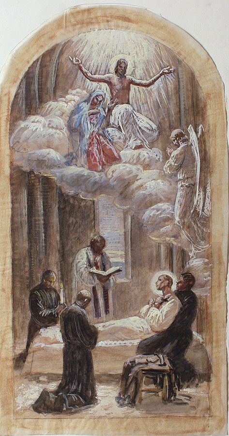 Death of St. Gabriel, study in gouache on paper