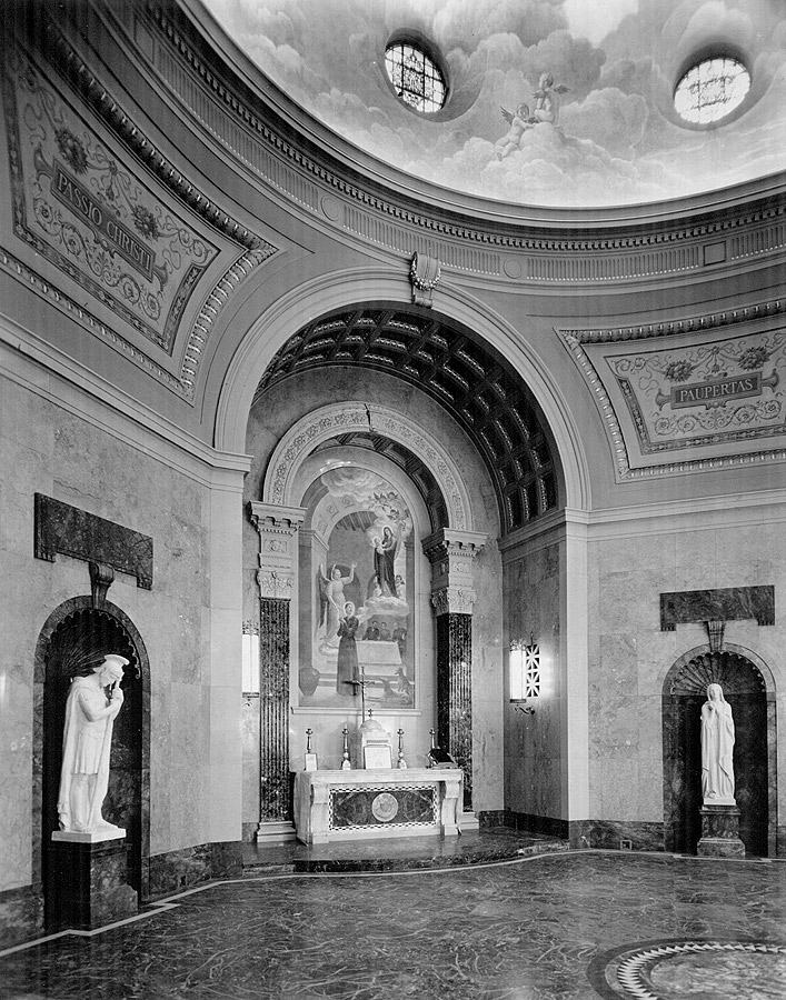 Chapel of the Passion dome showing circular windows enclosed by Meière's design. Below is her altarpiece with Blessed Gemma in a Domestic Scene. Passionist Historical Archives Collection, McHugh Special Collections, The University of Scranton, Scranton, PA