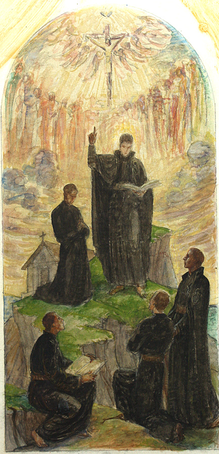 St. Paul of the Cross Preaching, study in gouache on paper