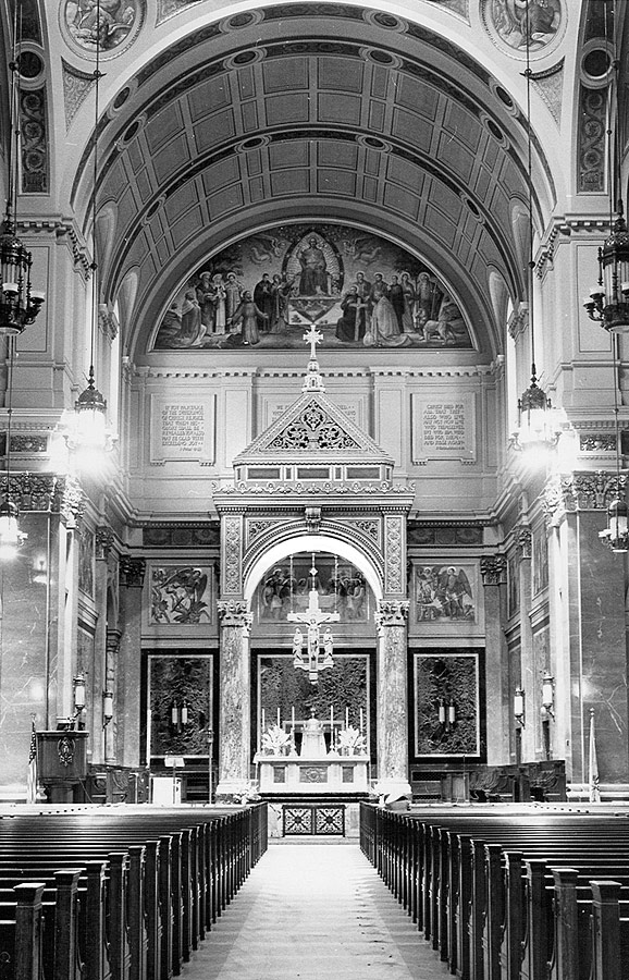 Completed main sanctuary in 1936 with two of Meière's four roundels partially visible