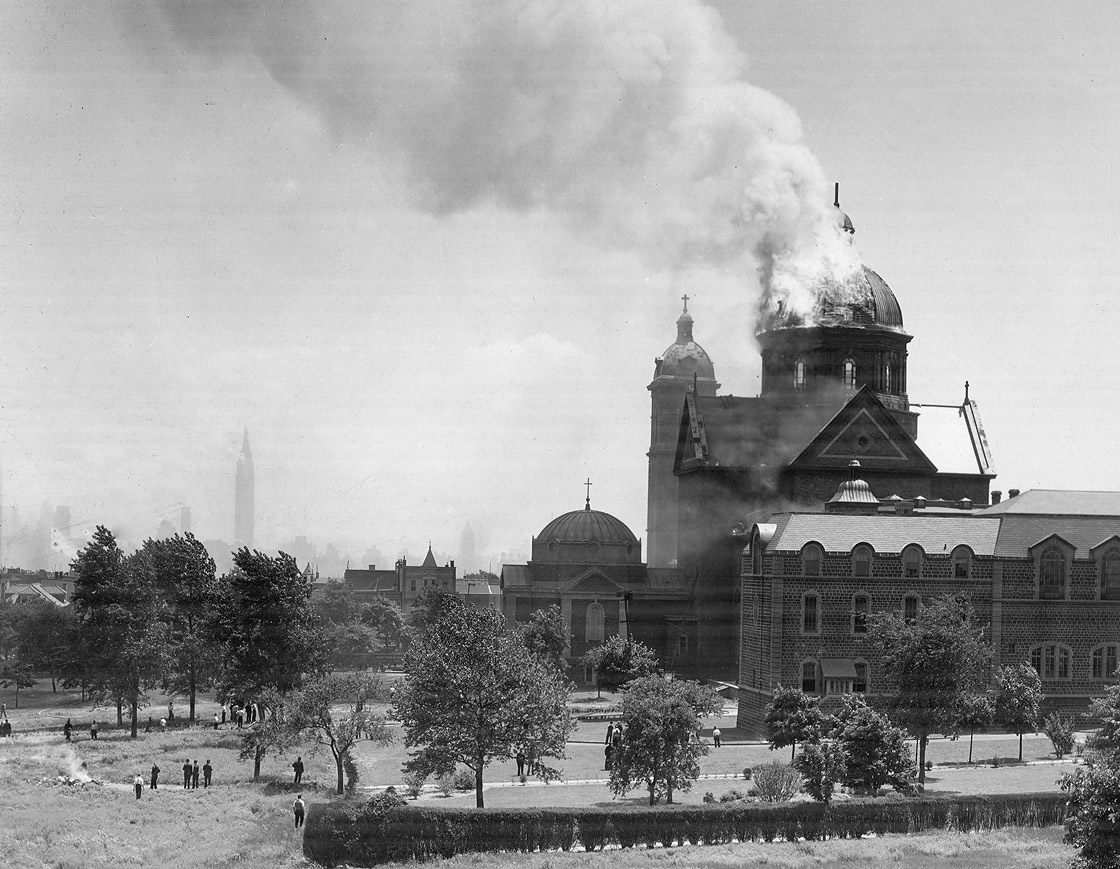 St. Michael's Monastery Church on fire May 31, 1934. Passionist Historical Archives Collection, McHugh Special Collections, The University of Scranton, Scranton, PA