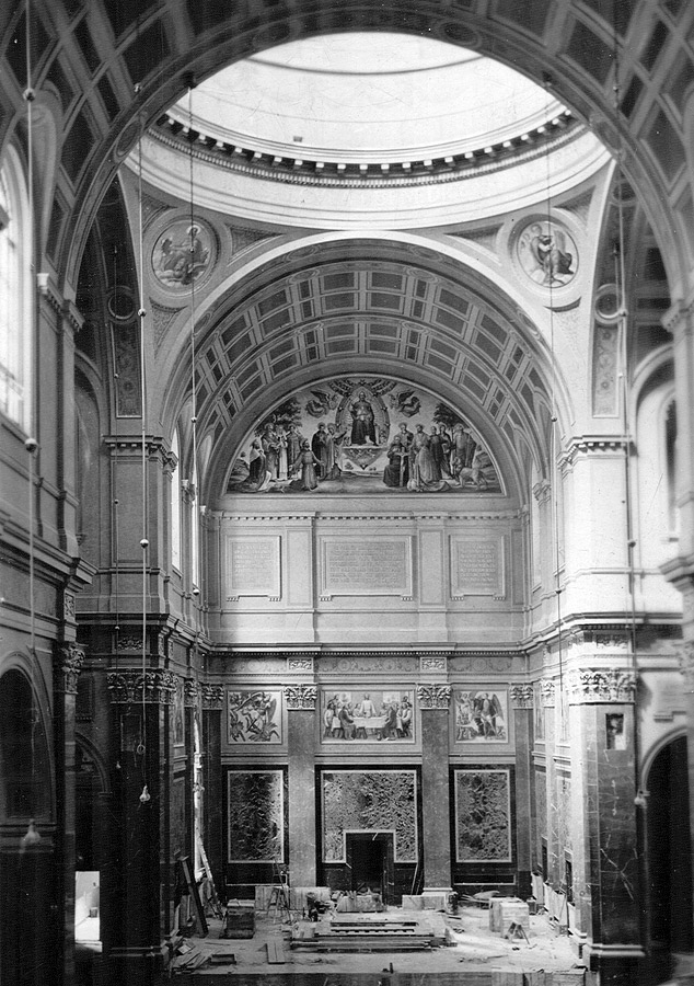 Rebuilt main sanctuary showing two pendentives supporting central dome, with Mark in roundel on left and Matthew in roundel on right, 1936. Passionist Historical Archives Collection, McHugh Special Collections, The University of Scranton, Scranton, PA