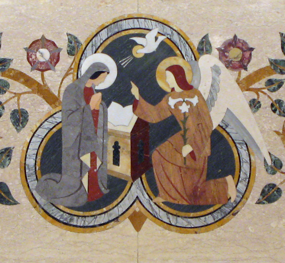 Detail of the Annunciation in inlaid marble
