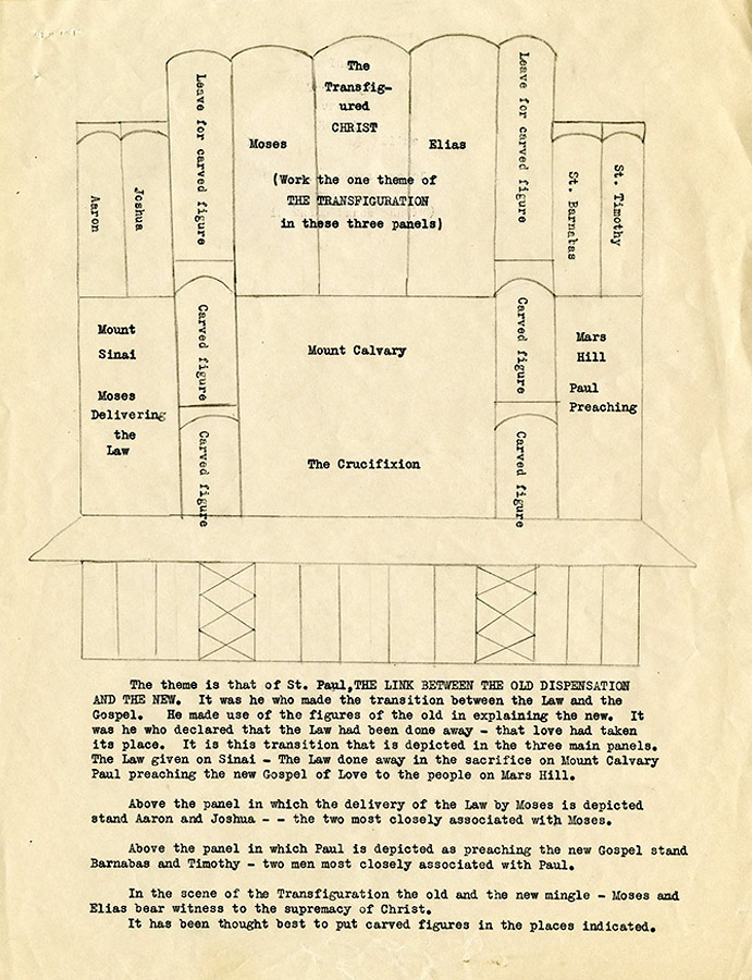 Plan for the reredos [altarpiece] in St. Paul's Chapel, Christ Church Cranbrook. Courtesy Cranbrook Archives, George Gough Booth Papers, 21:9
