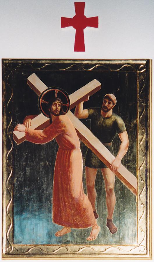 Simon helps Jesus carry the cross