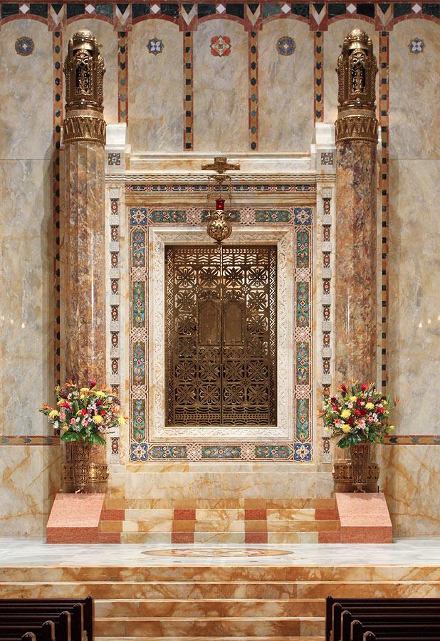 Ark in shape of open Torah scroll