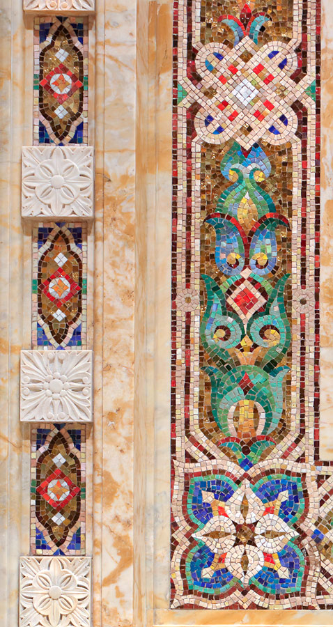 Detail of glass mosaic inserts