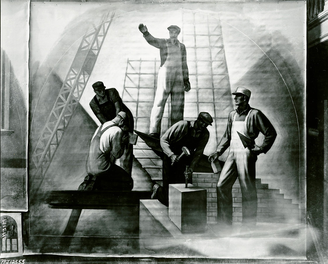 The Builders in Meière's studio with to-scale study on lower left. ©Peter A. Juley Collection, Smithsonian American Art Museum, Washington, DC
