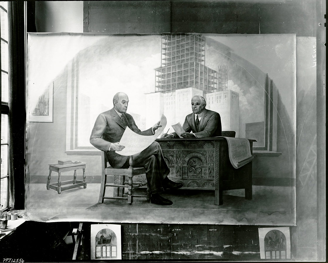 Architect and Developer in Meière's studio with to-scale study below. ©Peter A. Juley Collection, Smithsonian American Art Museum, Washington, DC