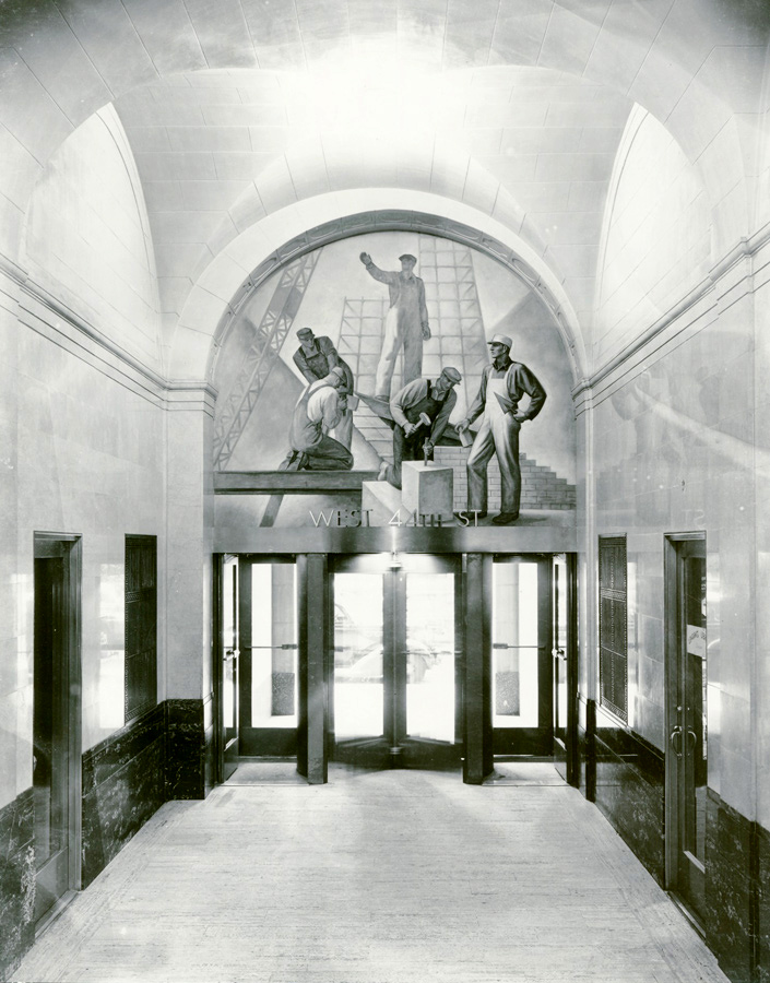 Mural above 44th Street entrance. ©Peter A. Juley Collection, Smithsonian American Art Museum, Washington, DC