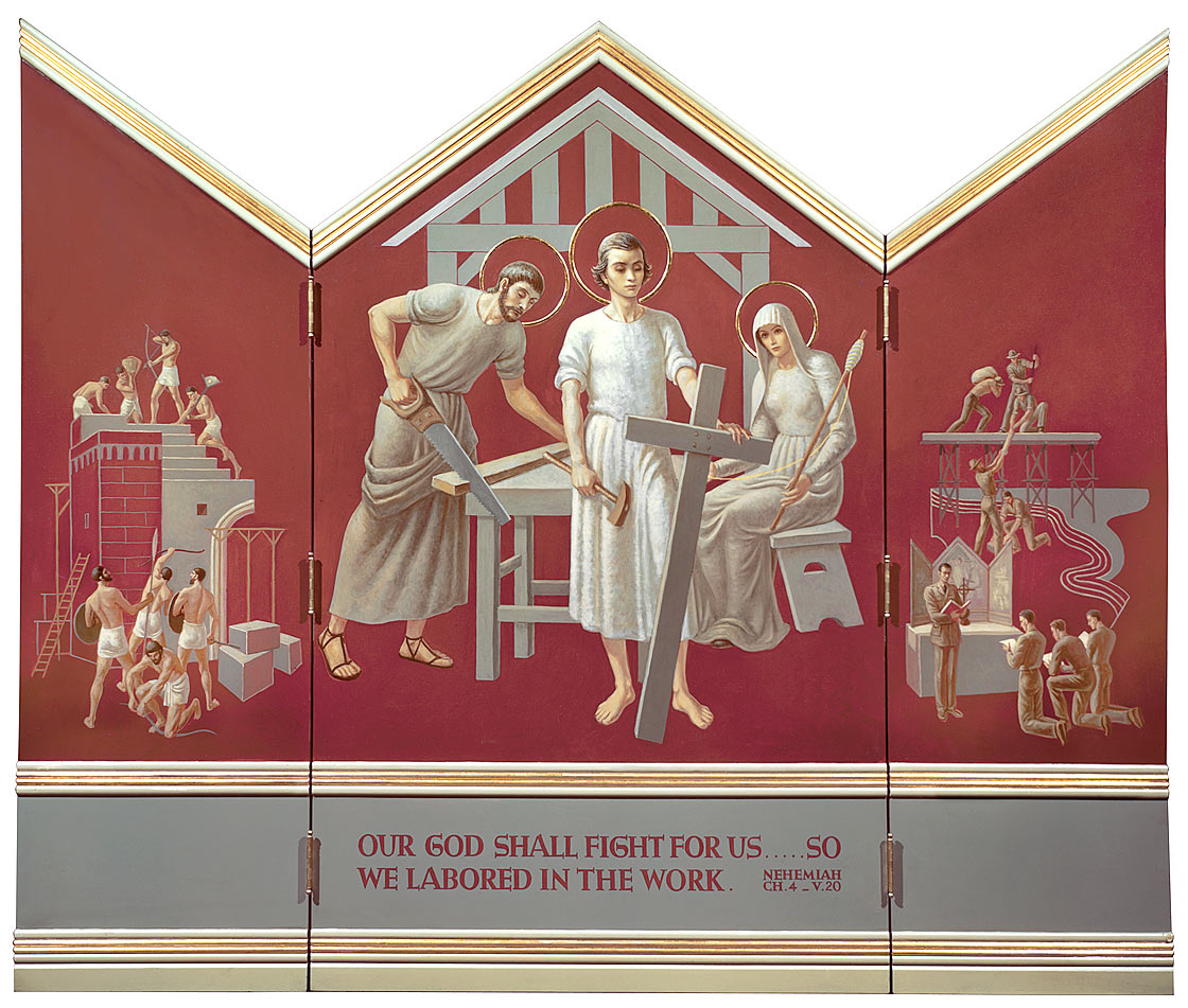 Triptych 146, Christ in the Carpenter's Shop; Building Jerusalem; Servicemen Building Bridges. Photograph in Citizens Committee for the Army, Navy, and Air Force Records, 1940-1945. Archives of American Art, Smithsonian Institution, Washington, DC
