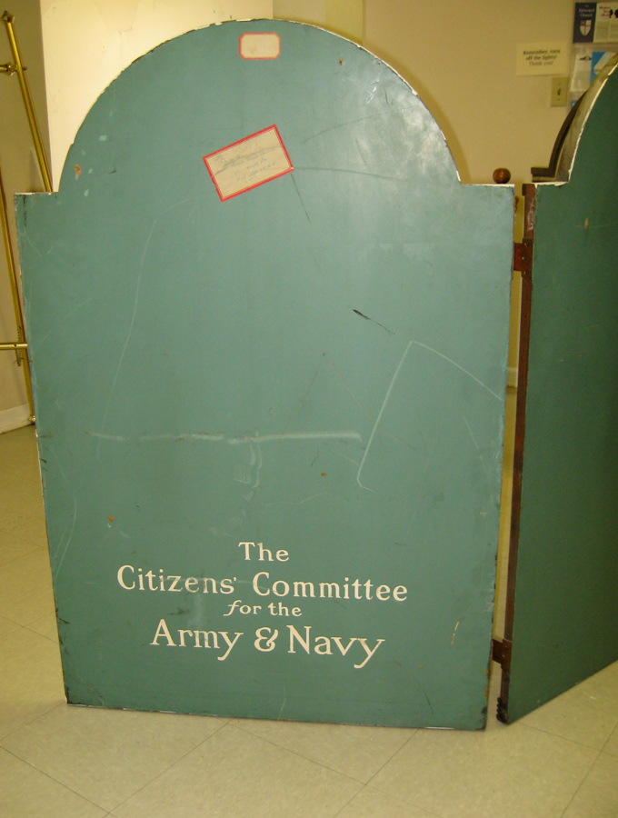 """The Citizens Committee of the Army and Navy"" inscribed on verso of right panel"