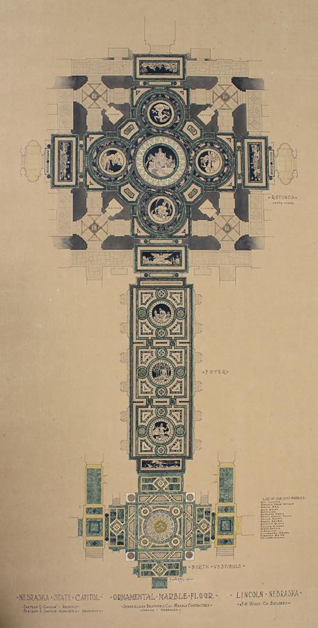 Plan showing progression of marble floor design from vestibule to rotunda. Nebraska State Capitol Ornamental Marble Floor, by Sunderland Brothers Co., c. 1929. Nebraska Capitol Collections