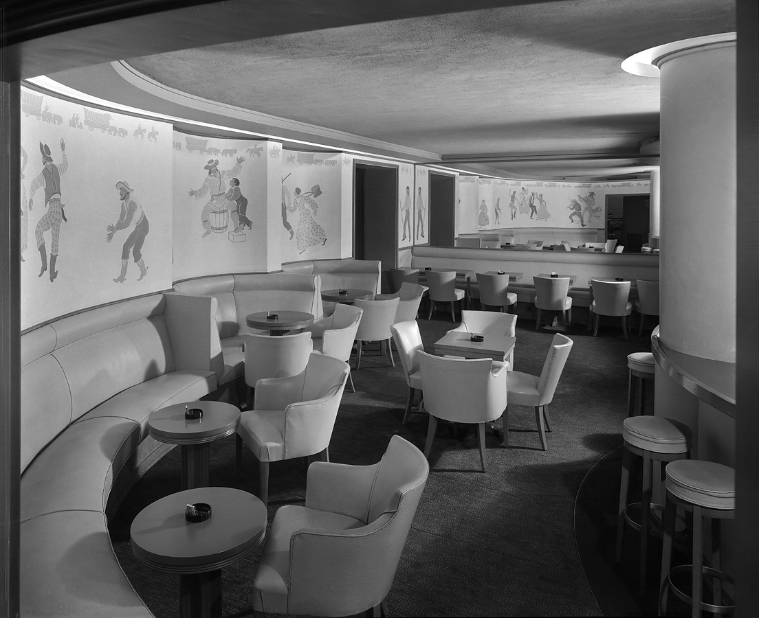 Westport Room cocktail lounge, with Western figures on walls. Chicago History Museum, Hedrich-Blessing Collection HB-04696-B, Chicago, IL
