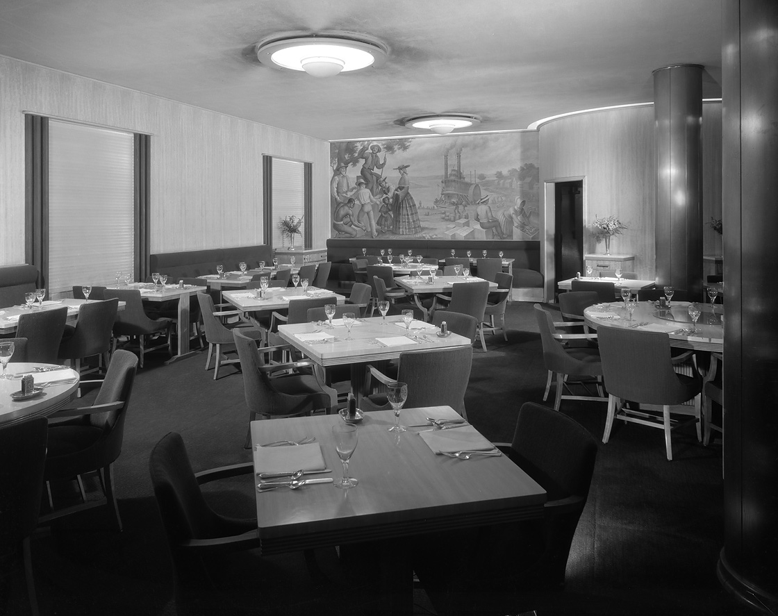 Westport Room restaurant with Arrival at Westport Landing. Chicago History Museum, Hedrich-Blessing Collection, HB-04696-E, Chicago, IL